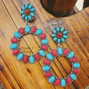 Red/Blue Western Style Earrings